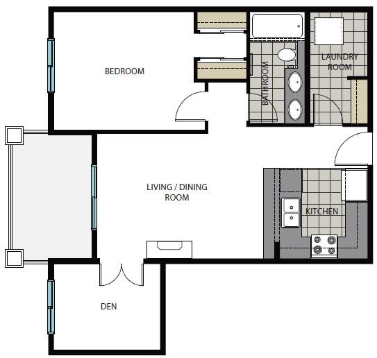 One Bedroom + Den Plans